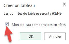 Fenêtre Créer un tableau - Excel Online