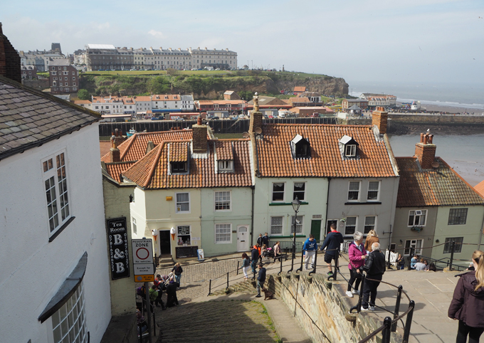 Travel Guide to Whitby the 199 steps up to the abbey