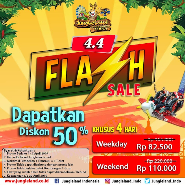 #JungleLand - #Promo Flash Sale Diskon 50% Tiket Masuk (04 - 07 April 2019)