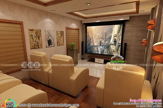 Kerala home theater interior set up