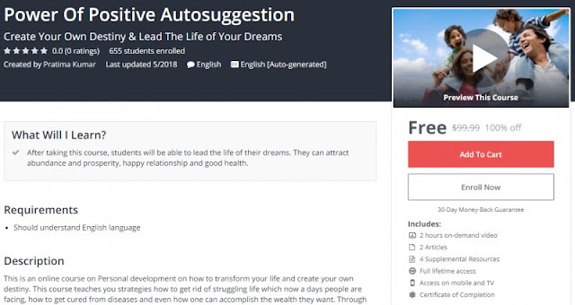 [100% Off] Power Of Positive Autosuggestion| Worth 99,99$