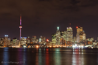 Toronto skyline at night, taken from the Poulson Pier