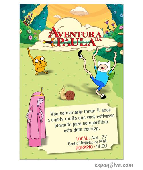 convite hora de aventura personalizado online
