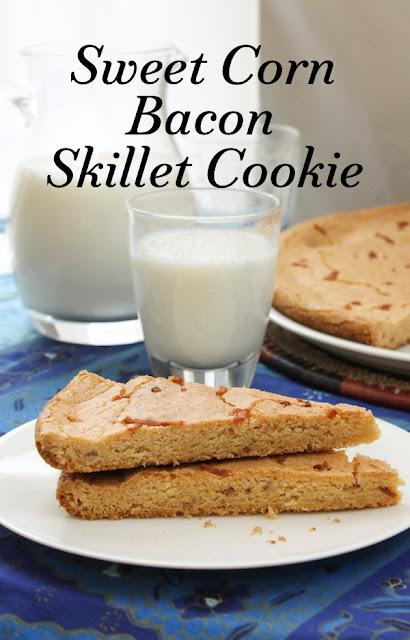 Food Lust People Love: This sweet corn bacon skillet cookie is the perfectly sweet and salty combination adored in Momofuku corn cookies, made more delicious with the addition of bacon. And made easier as one big cookie to slice and serve.