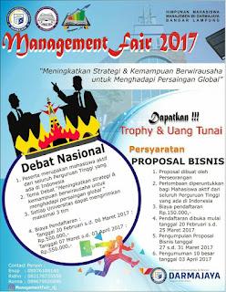 Lomba Proposal Binis Nasional Management Fair 2017 di IBI Darmajaya