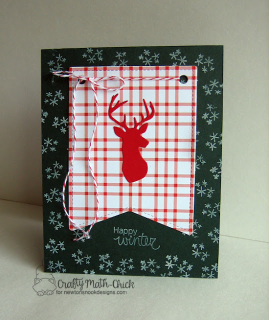 Plaid Buck Happy Winter card by Crafty Math Chick | Splendid Stags die set and Fox Hollow Stamp set by Newton's Nook Designs