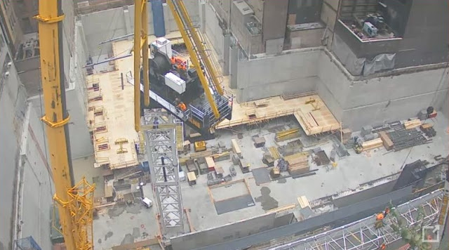 Photo of crane installation as seen from 56th street