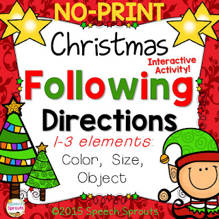 No-Print Christmas Following Directions in Speech Therapy www.speechsproutstherapy.com