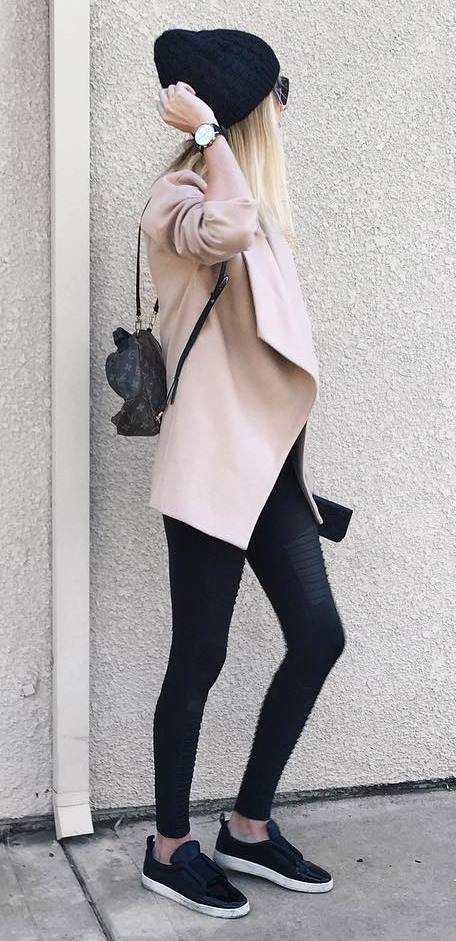 outfit of the day: hat + blush coat + bag + skinnies + sneakers