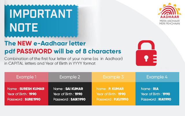 New Password to Open e-Aadhaar Card PDF