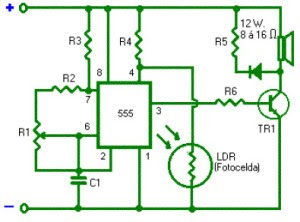 light alarm using timer 555 circuit diagram rh circuitsdiagramlab blogspot com Light Turn On Alarm Clock light sensitive alarm with timer 555 ic