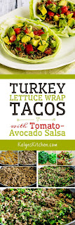 Turkey Lettuce Wrap Tacos with Tomato-Avocado Salsa found on KalynsKitchen.com