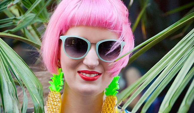 Tropical girl, neubau sunglasses, marina fini earrings