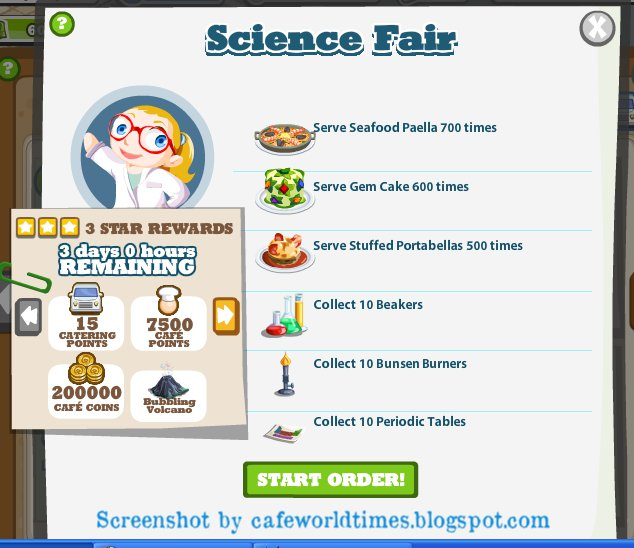 cooking tale science fair dishes needed