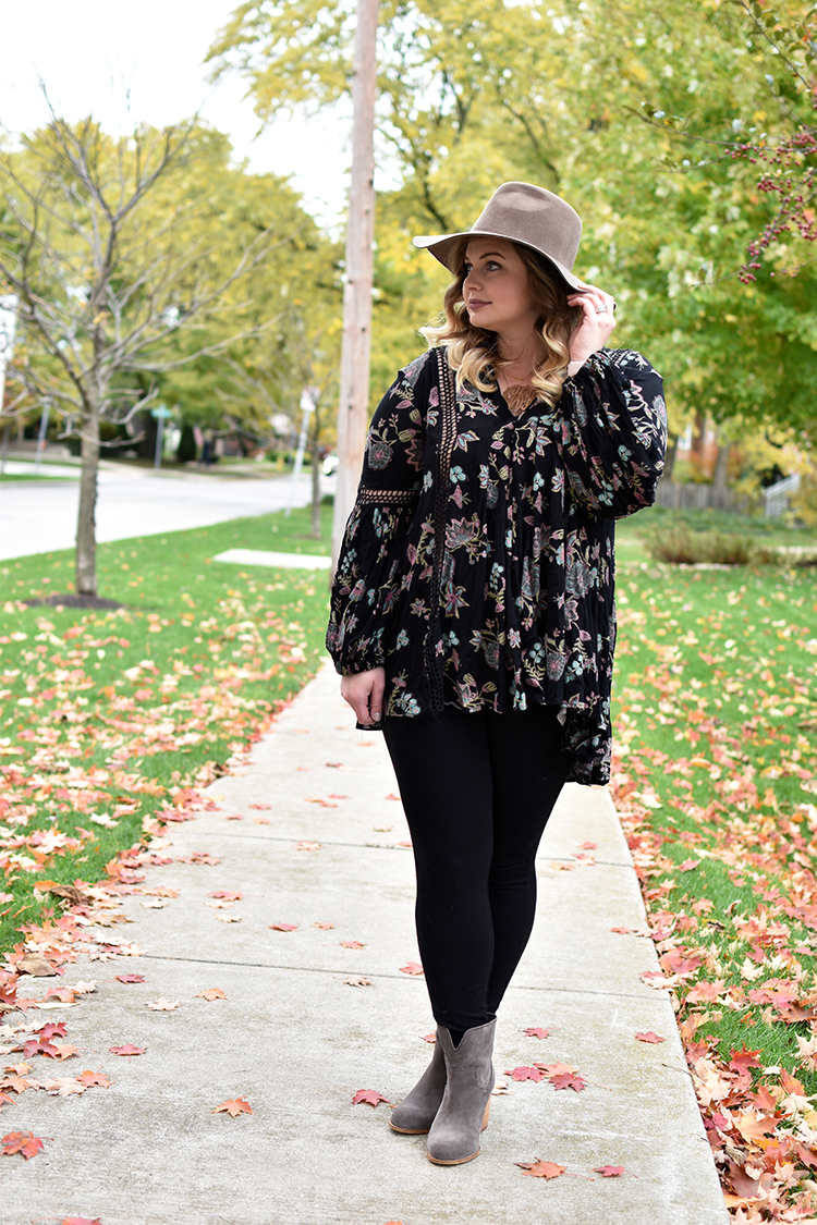 45c0ba8d8c4 free people just the two of us floral tunic jcrew pixie pant splendid gray  booties madewell