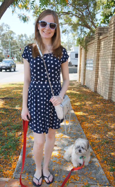 Navy polka dot dress OOTD Aussie blogger