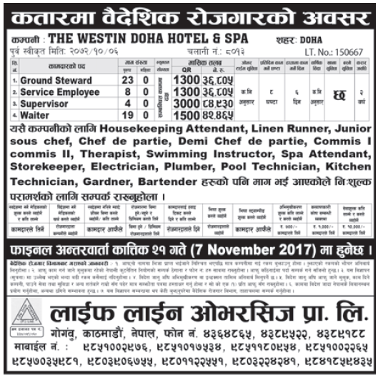 Jobs in Qatar for Nepali, Salary Rs 84,930