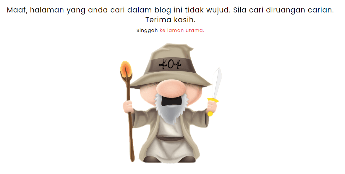 Kecomelan Error 404