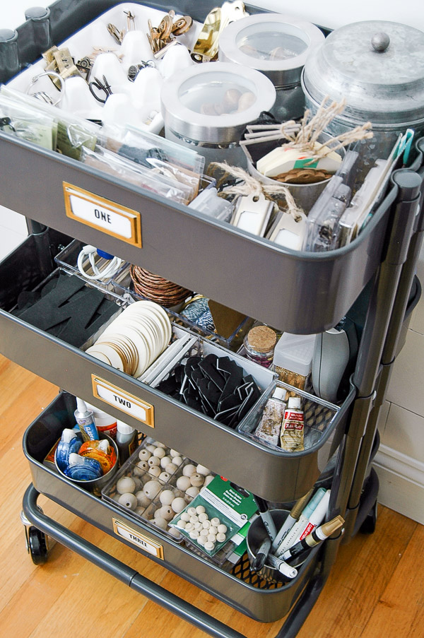 Organizing craft supplies with galvanized organizers