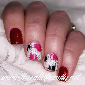 Nail Art: Red and Pink Hearts