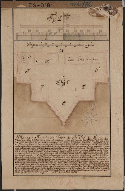 Planta e fachada do Forte de Nossa Senhora do Monte do Carmo, Vitória, ES. 04/01/1766.