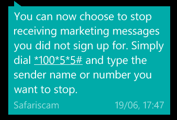 safaricom stop marketing messages