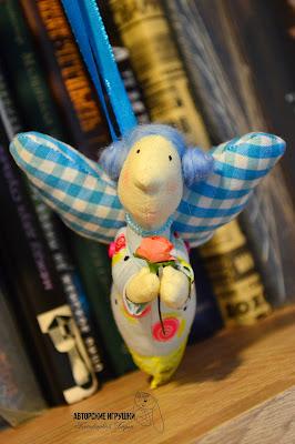 ангел тильда, синий ангел, ангел в голубых тоннах, ангел тильда с розой, ангел тильда для кухни