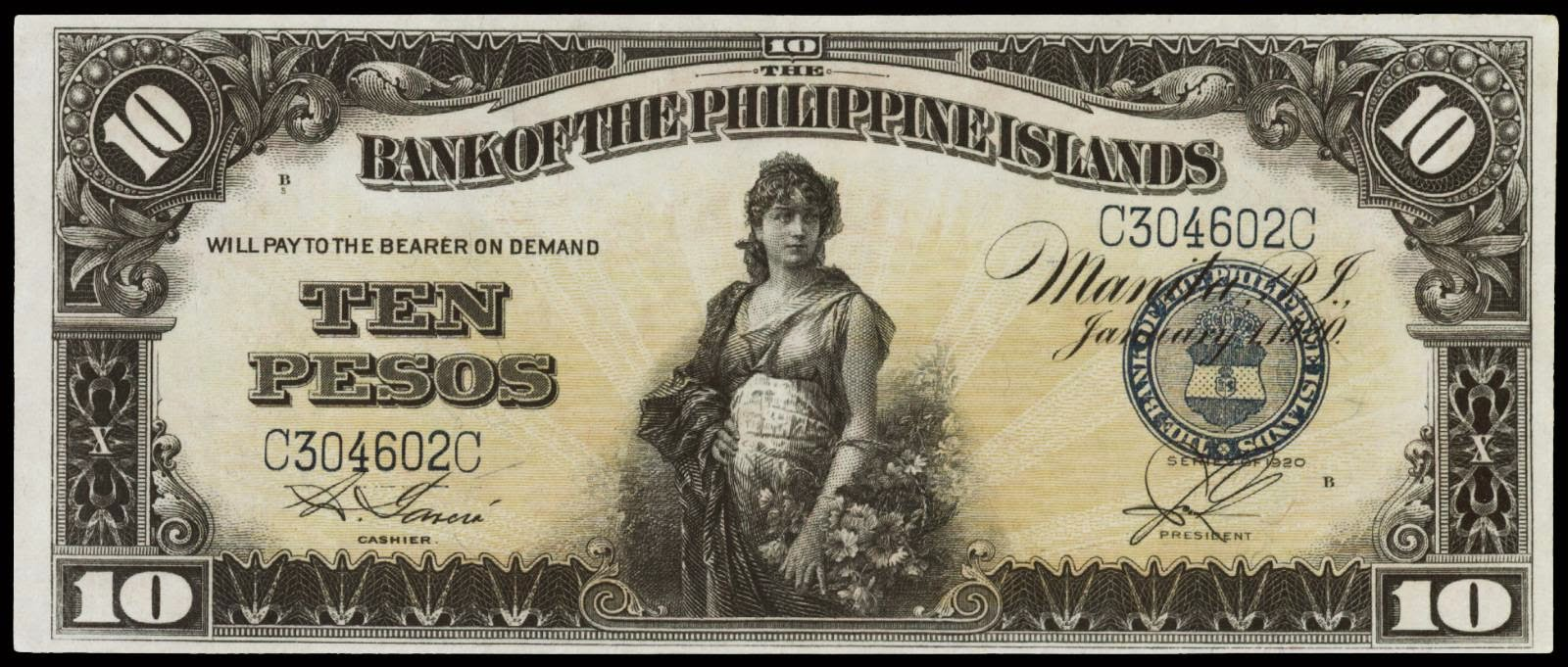 Philippines banknotes 1920 10 Pesos Philippine Bank Note