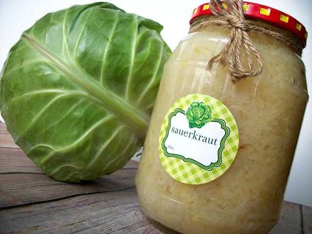 Cute Sauerkraut Canning Jar Labels
