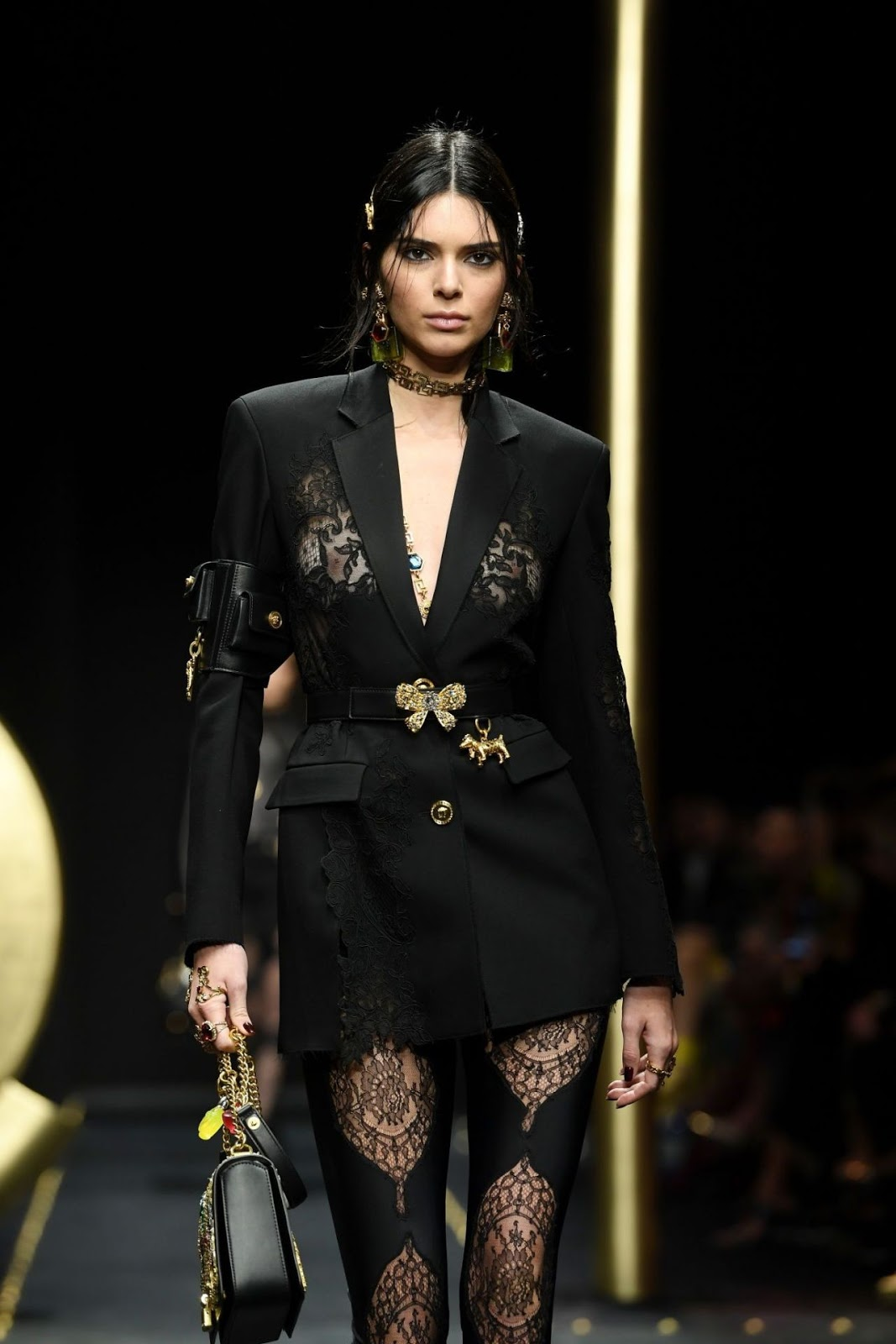 Kendall Jenner puts nipples on show at the Versace Fall