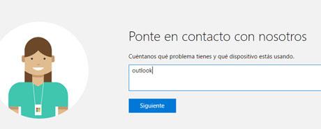 Como ponerte en contacto con Outlook directamente para resolver un problema