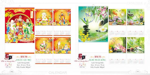 Mẫu lịch nẹp thiếc 5 tờ - Phước Lộc Thọ (ảnh 1) &  Nghệ thuật sống (ảnh 2)