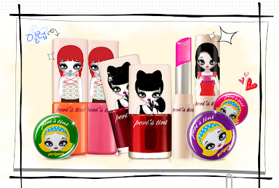 Mari Kim illustrations on Peripera lip products