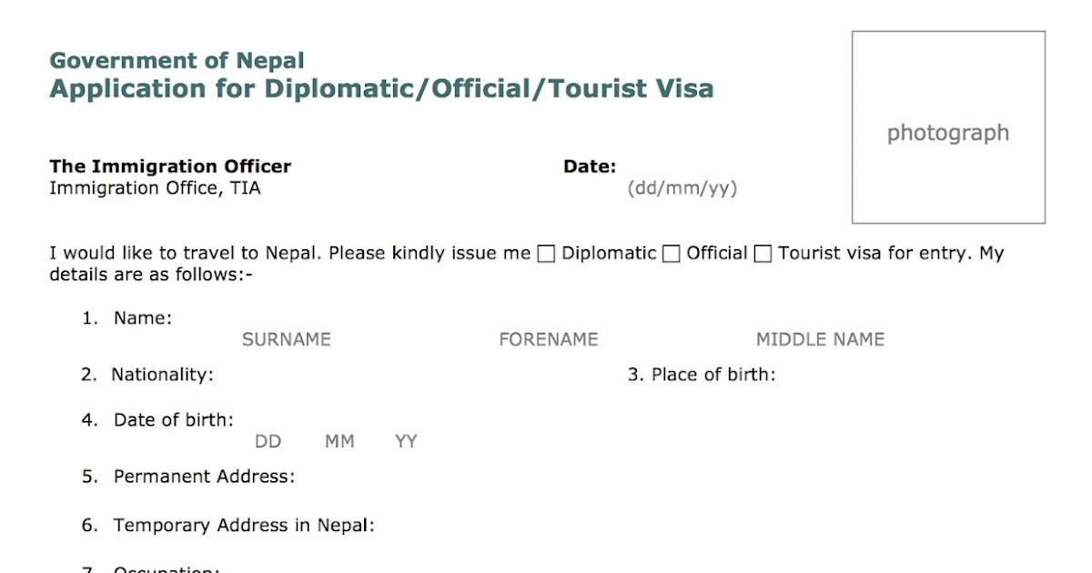 Nepal_visa_form Visa Application Form For Belgium From Nepal on