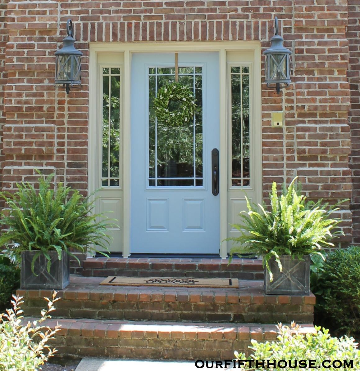 New light blue front door our fifth house for New exterior door