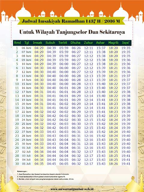 Jadwal Imsakiyah Tanjung Selor 1437 H