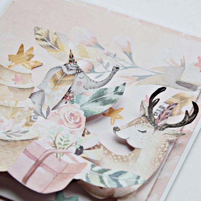 elementy wycięte z papieru -tort i zwierzątka