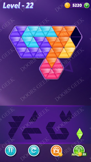 Block! Triangle Puzzle Intermediate Level 22 Solution, Cheats, Walkthrough for Android, iPhone, iPad and iPod