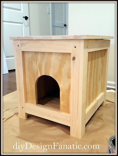 cat cave, cat house, cat house side table, side table, cottage, farmhouse, diy, diyDesignFanatic.com