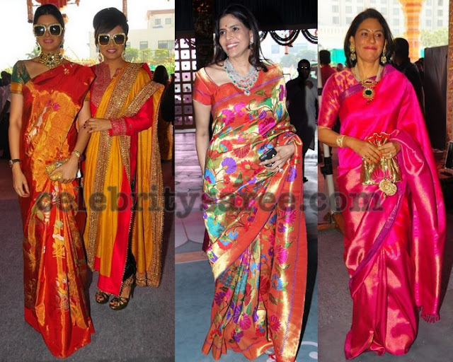 Pretty Ladies in Floral Zamdhani Saree