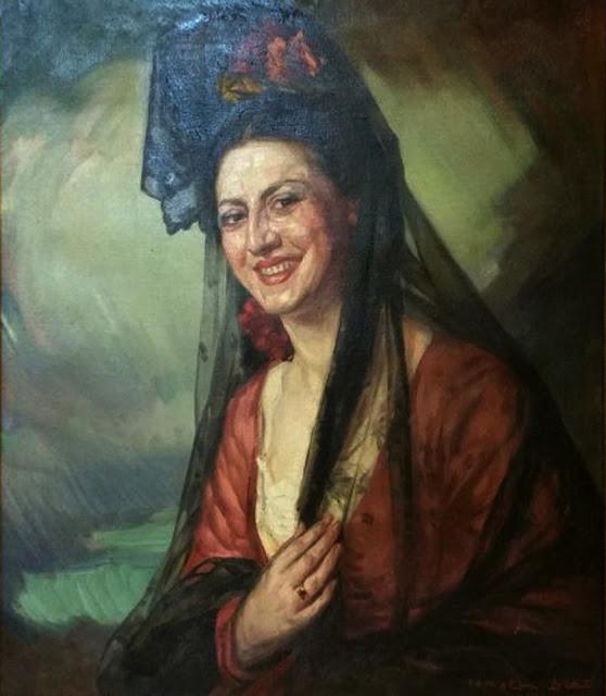 Ismael Blat Monzo,  Mujer con mantilla y paisaje al fondo