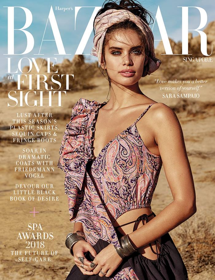 Harper's Bazaar Singapore February 2018 Sara Sampaio by Yu Tsai