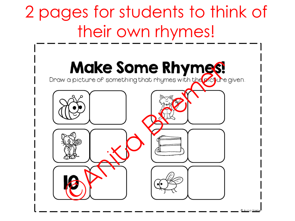 Rhyming activity pack- perfect for Kindergarten literacy centers!