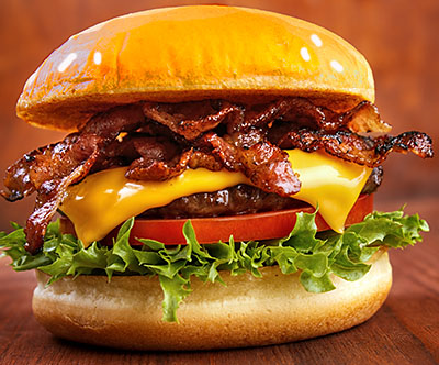 ... Cheeseburgers with Bacon, Coffee Glaze and Sweet Grilled Onions