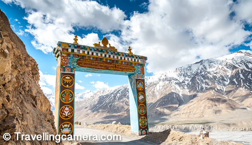 When we start listing down main places to visit in Spiti Valley, Key Monsatery is must visit place and is very well connected with Kaza town. Road condition is much better than the other roads which lead to Kaza from other parts of the country. Above photograph shows the gate for Key Monastery which is near the main road going towards Kibber village from Kaza. First we visited the Key Monastery and then planned to visit Kibber.   Key Monastery is visited not only by locals but also by tourists from all parts of the country who come looking for it in order to seek peace, silence and inner tranquillity.  There are no restaurants or eateries at the Key Monastery. It is advisable to carry food while visiting the monastery. The monks at the monastery serve tea to all visitors.