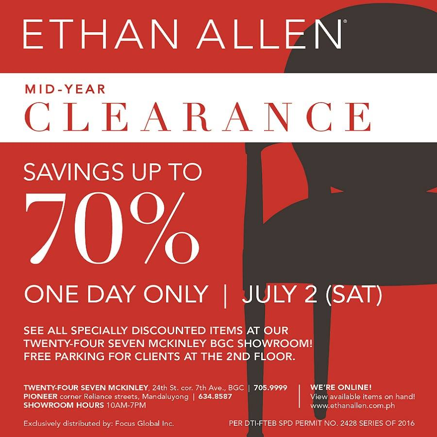 Manila Shopper Ethan Allen One Day Mid Year Clearance