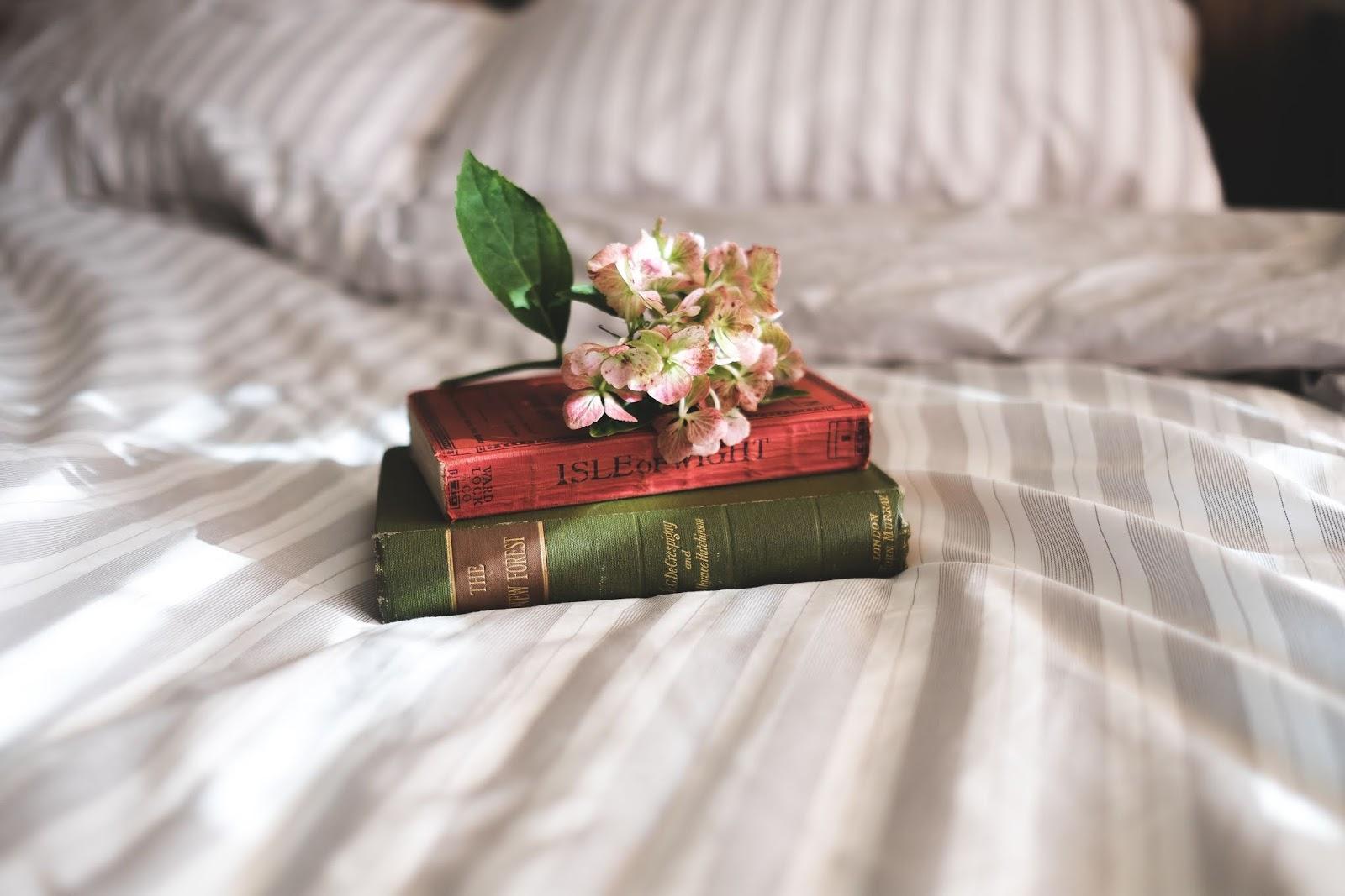 książki na łóżku