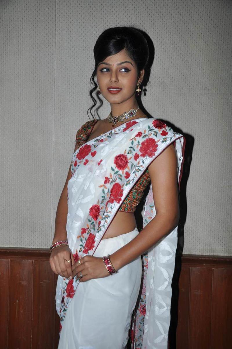 Monal Gajjar Cute Photos in White Saree - CAP