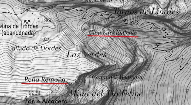 La Canal del Embudo en un mapa del Instituto Geográfico Nacional