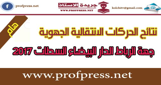 نتيجة الحركة الانتقالية الجهوية لجهة الدار البيضاء سطات 2017